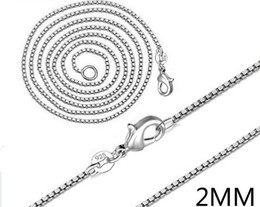 Wholesale Silver Box Chain 2mm - Man woman Necklace 925 sterling Silver 2MM Box Chain Necklace 16inch 18inch 20inch 22inch 24inch for Pendants