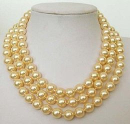 """Wholesale South Sea Bracelets - 10mm Yellow South Sea SHELL PEARL NECKLACE 70"""""""