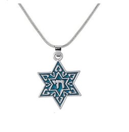 Wholesale Cross Design Gold - Simple design NATURE-ADMIRING Engraved Special Symbols Jewish Star of David Chai Life Pendant Judaic Kaddalah Necklace Religious Jewelry