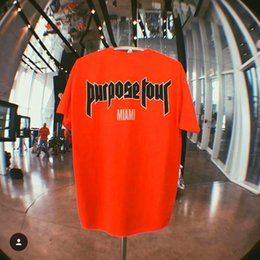 Wholesale Blue Staff - Purpose Tour Print T-Shirt Vampire Paris Slim Box Logo T-Shirts Men O Neck New York Justin Bieber STAFF Orange 2017 New