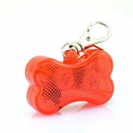 Wholesale Solid Keychain - Bone design LED Pendant Puppy Safety Night Light-Up Pet Dog Keychain Tags pendant Pet Dog ID Address Label Tag