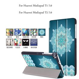 Wholesale Tablet Case Painting - Wholesale- PU Leather Magnetic Smart Cover For Huawei MediaPad T1 7.0 Case Slim Painting Tablet Case for Huawei Mediapad T2 7.0 Cover
