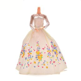 Wholesale Dress Doll Print - White Lace Flower Print Doll dress handmake wedding Dress Fashion Clothing Gown For Barbie doll Clothes