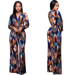 Wholesale Womens Pants Rompers - Women Fashion Print Long Sleeve Rompers Womens Jumpsuits Sexy V-neck Bandage Full Length One Piece Pants Jumpsuit For Ladies XL