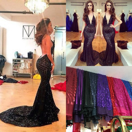 hot sexy see through dresses Promo Codes - Sparkly Luxury Sequins Hot Sexy See Through Mermaid Prom Dresses 2017 Michael Costello Deep V-neck Trumpet Dress Evening Party Wear