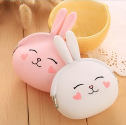 Wholesale Mini Women Gifts - New Fashion Coin Purse Lovely Kawaii Cartoon Rabbit Pouch Women Girls Small Wallet Soft Silicone Coin Bag Kid Gift