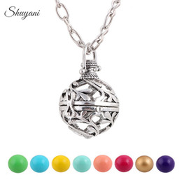 Wholesale Harmony Ball Cage - Hollow Openable Cage Locket Necklace Colorful Harmony Ball Angel Bola Ringing Chime Pregnant Locket Necklace Jewelry Making