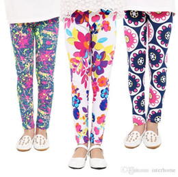 Wholesale Butterflies Print - Baby Leggings Flower Printed Pants Girl Floral Butterfly Geometric Tights Kids Lovely Leggings Summer Trousers Spring Pants 19 Designs H171