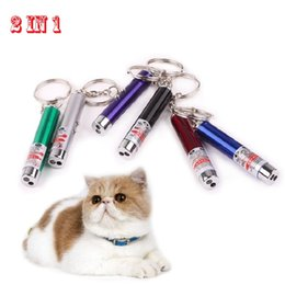 Wholesale Cat Toys Free Shipping - Cat Toys Laser Beam for Teasing Cat Pointer Lazer Presentation Pen LED Flashlights 2in1 Tool Wholesale free shipping