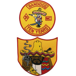 2019 emblema bordado patch applique Barato Prime Bandidos Dez Anos Motociclista Clube MC FRENTE Roupas Applique Remendo Bordado Ferro Em Crachás Frete Grátis emblema bordado patch applique barato