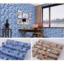 Wholesale Wholesale Bathroom Floor Tile - Wholesale- Self-adhesive Mosaic Wallpaper Tile Floor Kitchen Bathroom Waterproof Wall Sticker