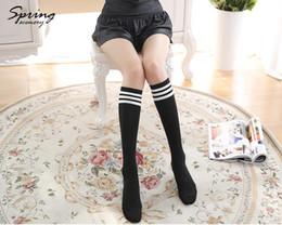 Wholesale Acrylic Clear Tube - Wholesale- Knee socks female stovepipe Solid half tube socks three bars half the students College Wind socks
