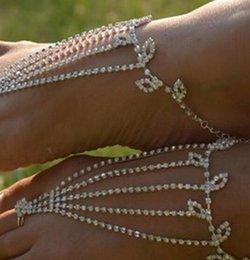 Sandalias descalzos diamantes online-Tobilleras descalzas Sandalias Joyas de pies Baile de playa Boda Baile latino Pulsera de tobillo Cadena Diamante Moda Novia Playa Joyería de fiesta