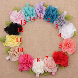 Wholesale Satin Rose Clips - Hair Accessories Children Accessories Satin Rose Flower Hair Clips For Baby Girls Baby Products YH485