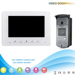 Wholesale Wired Video Intercom Doorbell Systems - White 7 inch Color Video Door Phone Intercom Doorbell System 1 Monitor RFID Access Waterproof Camera kit