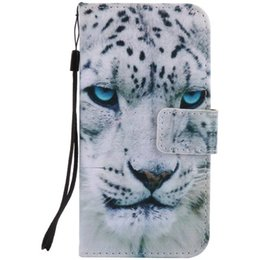 Wholesale Leather Phone S4 - Painted White leopard flip leather case for Samsung Galaxy S3 S4 S5 S6 S7 edge card cover Card slot wallet with kickstand phone stand