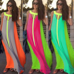 Wholesale Dress Cheap Night Long - 2016 Hot Selling Casual Dresses Bright Color Patchwork Sleeveless Sundress Big Skirt Loose Long Dress Cheap Women Maxi Dresses