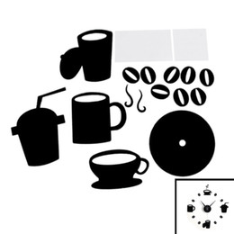 Wholesale Coffee Cup Wall Clocks - Wholesale- DIY Modern Home Decoration Large Coffee Cup Decal Kitchen Wall Clocks Silent Watch Decals (Black)
