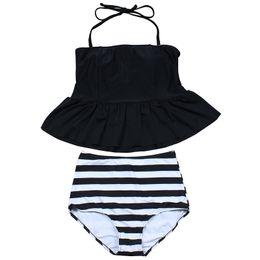 Wholesale Vintage Tankini Swimsuits - 2017 New Bikinis High Waist Swimsuit Women Tankini Bathing Suit Bikini Set Vintage Retro Plus Size Swimwear Dress 3XL
