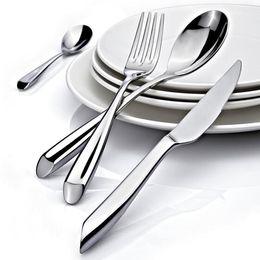 Wholesale Stainless Steel Flatware Cutlery - Knife Sets Round Handle Dinnerware Stainless steel Kitchen Table Spoon Round Soup Teaspoon home Kitchen Restaurant Cutlery Flatware