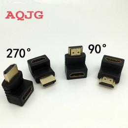 Adaptador de cabo conversor on-line-Atacado-HDMI Macho para HDMI Feminino Cabo Adaptador Conversor Extender 270/90 Graus Ângulo para 1080 P HDTV para Adaptador Hdmi AQJG