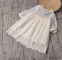 Wholesale Pleat Flower Girl Dresses - Summer Fashion Baby Girl Dress Lace Flower Embroidery Long Sleeves Children Clothes Top quality For 1~7Y