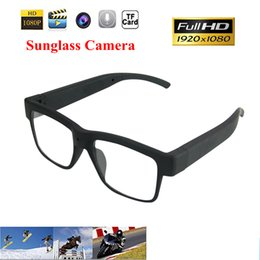 Wholesale Hd Spy Camera Glass - 1080P Full HD Fashion Sunglasses Sport Glasses Camera ABS Plano Eyeglasses Spy Camera Hidden Camcorder Mini DV DVR Video Recorder