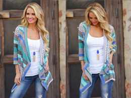 Wholesale Open Collar Long Sleeves Sweater - Wholesale-New Fashion Sweater Open Stitch Irregular Three Quarter Sleeve Patchwork Ruffled Collar Cardigans