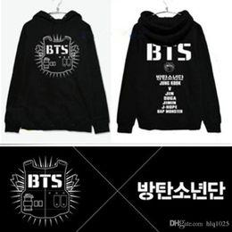 Wholesale Album Jackets - Spring and autumn BTS bangtan boys men and women kpop coat jacket kpopbts poster bts album hoodie Black Red Gray
