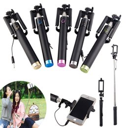 Wholesale Extendable Handheld - High quality Selfie Stick Pole Tripod Monopod with Wire Handheld Extendable Built-in Shutter for iphone Samsung LG HTC