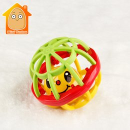Wholesale Little Plastic Balls - Wholesale- MiniTudou Newborn Baby Soft Rubber Fitness Ball Fun Little Loud Bell Ball Grasping Toys Plastic Hand Bell Rattles