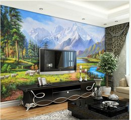 Wholesale Oil Painting Asia - 3d wallpaper European Pastoral Pastoral Landscape Oil Painting Background Mural House Lounge Sofa Wallpaper mural landscape