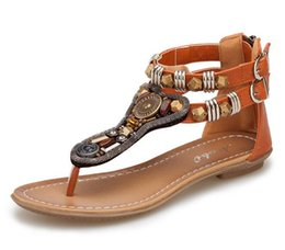 Wholesale T Studs - New Women's Gladiator Roman Indian Ethnic Style Leather Flats Sandals Shoes Gladiator Sandals Women Sexy Stud Women Flat Shoes G375