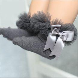 Wholesale Baby Cotton Bow Socks - Baby Socks Korean Sweet Girls Lace Bow Stocking Big Bowknot Short Socks Cotton Soft kid's Socks Children Sock