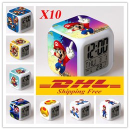 Wholesale Led Alarm Clock Digital Nz - 10 pcs DHL Free Mario Bros Alarm Clock LED 48 styles Digital Alarm Clock Mario Bros Thermometer Night Colorful Glowing Clock NZ