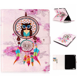 Wholesale Animal Ipad Mini Cases - Cartoon Flower Smart Leather Case Stand Pouch For Ipad Mini 1 2 3 4 5 Ipad 2 3 4 Air 2 Ipad6 tablet Tiger Owl Butterfly Cards Cover 60pcs