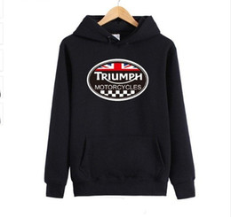 Wholesale England Flag Prints - Wholesale- GREAT BRITAIN TRIUMPH HOODIES MOTORCYCLE Classic Tour Biker England Flag Hoody Sweatshirts Race Pullovers Cotton Brand Jumpers
