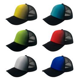Wholesale Fluorescent Snapback - 2017 New Cheap Trucker Mesh Hats 5 Panel Summer Snapback Size Men Women Hat Gradient Fluorescent Color