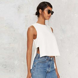 Wholesale Low Shoulder Tops - 2017042319 Fashion Split Basic Tops Women Sleeveless Cold Shoulder Female Pullover Tops Street High Low Casual Ladies T-shirt