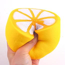 Wholesale Lemon Charms - 11.5cm Lemon Jumbo kawaii Squishy Big Simulation Fruit Slow Rising Squishies Scented Stress Relief Toy Charms Kids Xmas Gift