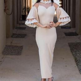 Wholesale Vintage Ankle Length White Dress - Custom Made Elegant Champagne Evening Dresses Elastic Satin 3 4 Sleeveless Ankle-Length 2018 Illusion Prom Dresses Long Dresses Evening Wear