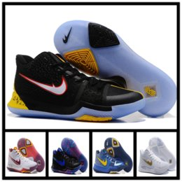 Wholesale Mint Tie - 2017 Newest Kyrie 3 Irving Glod Tie Dye Bhm Men Basketball Shoes Black Ice White Chrome Crossover Huarache Cavs Kyrie Irving 3s Sports Sneak