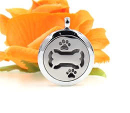 Wholesale Rhinestone Dog Charms - 1pcs With chain as gift! Alloy Aromatherapy Locket silver essential oil charms diffuser Locket necklace dog bone necklace
