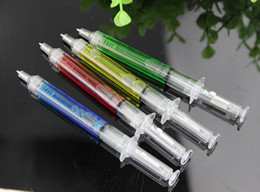Wholesale Novelty Liquid Syringe Ballpoint Pen - Liquid Novelty Syringe Ballpoint Pen Stationery Cute Syringe Ballpoint Pen Office Supplies Child Gift