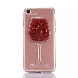 Wholesale Quicksand Liquid Cup Red Wine Glass Soft TPU Case For Iphone I7 Iphone7 Plus S SE S Bling Star Transparent Crystal Skin Cover