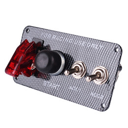 Wholesale Race Ignition - 3061 Racing Style Car 12V Ignition Switch Engine Start Push Button 3 Toggle Panel with Indicator Light DIY Car Modification Accessory