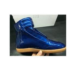 Wholesale Patent Leather Shoe Paint - New Fashion Maison Martin Margiel Men's Blue Paint Boots MMM Shoes Men High Top Sneakers Fashion Laser Colorful Sports Shoes size 38-46