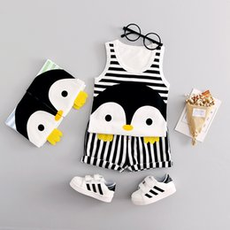 Wholesale Boys 3t Summer - Summer Cotton Boys Clothes Cartoon Penguin Cute Girls Clothing Sets Striped Fashion Vest Children Clothing 0-3T Conjunto Menino
