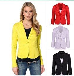 Wholesale Green Lapel Long Sleeve Blazer - Spring design long-sleeve women's blazer suit OL slim Black orange jacket female office plus size blazers formal work wear