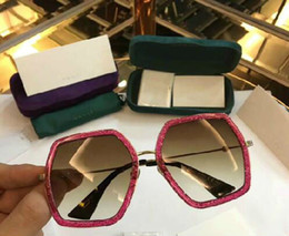 Wholesale Poly Crystal - new fashion women sunglasses gg0160s Eyewear frame diamond crystal design round big frame hot lady design UV400 lens with original case